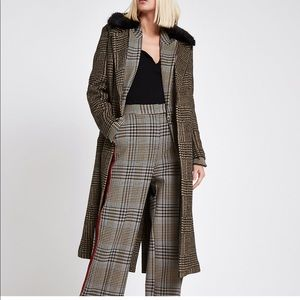 BNWT Brown check faux fur knit coat river island